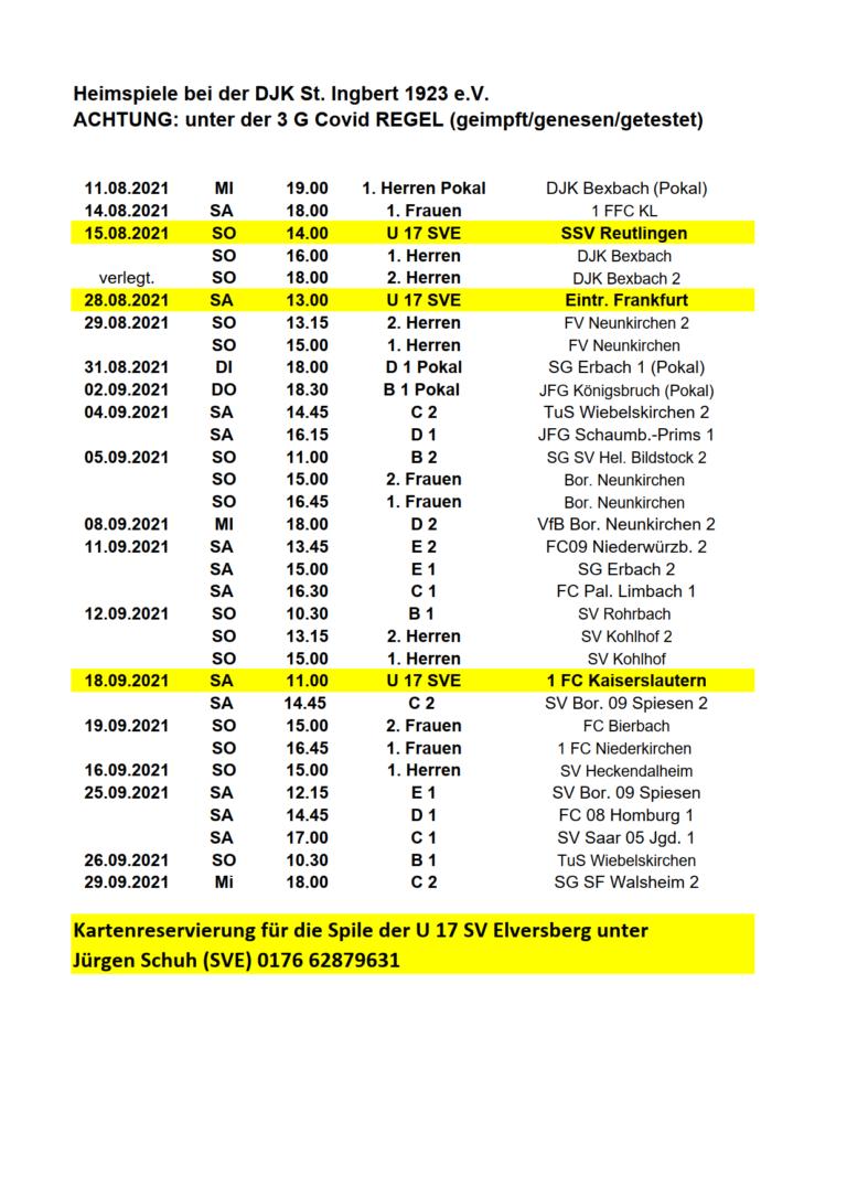 DJK Heimspiele August September 2021