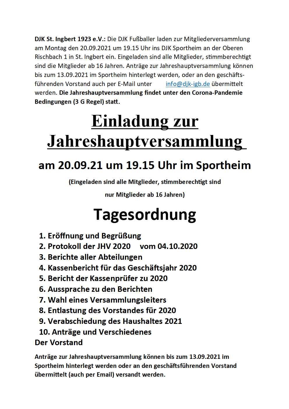 You are currently viewing Einladung zur Jahreshauptversammlung